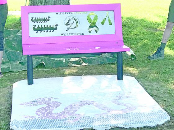 A bench has permanently been erected in honor of the Kentucky Thorough-Breasts. Others are to follow later in the summer. Photo by Carolyn Reid.