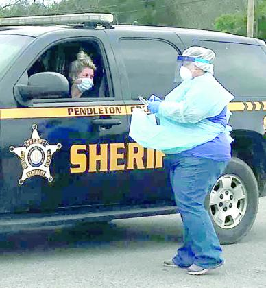 Pendleton County Deputy Sheriff Patricia Dietz was one of 20 to use the drive-thru Covid-19 testing site. Pendleton County will have another site on Wednesday, May 6 at Pendleton County High School.
